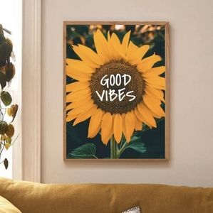 Good vibes sunflower canvas wall poster